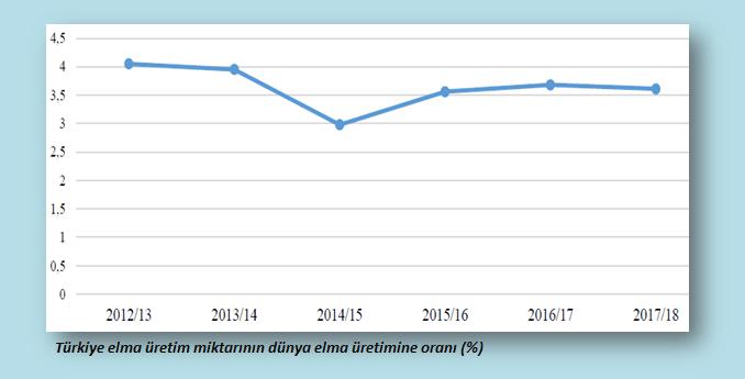 Türkiye elma üretim miktarlarının dünya elma üretimine oranı