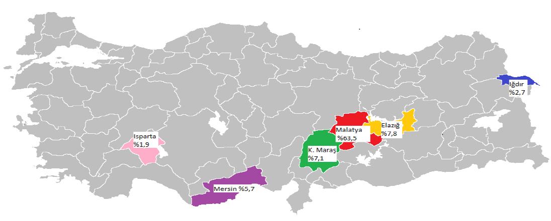 Türkiye'deki kayısı ağaçları sayılarının şehirlere göre yüzdesel dağılımı