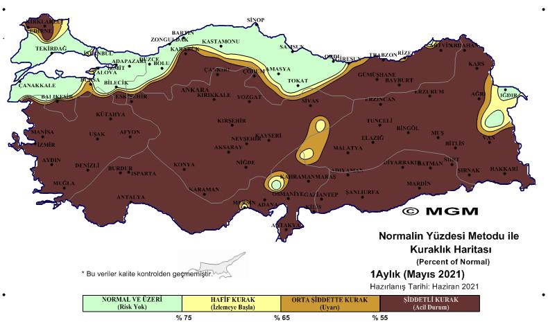 Türkiye kuraklık haritası