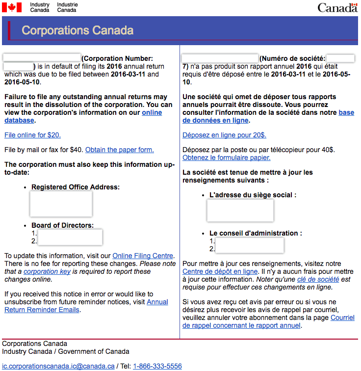 Federal Annual Filing Notice Corporations Canada