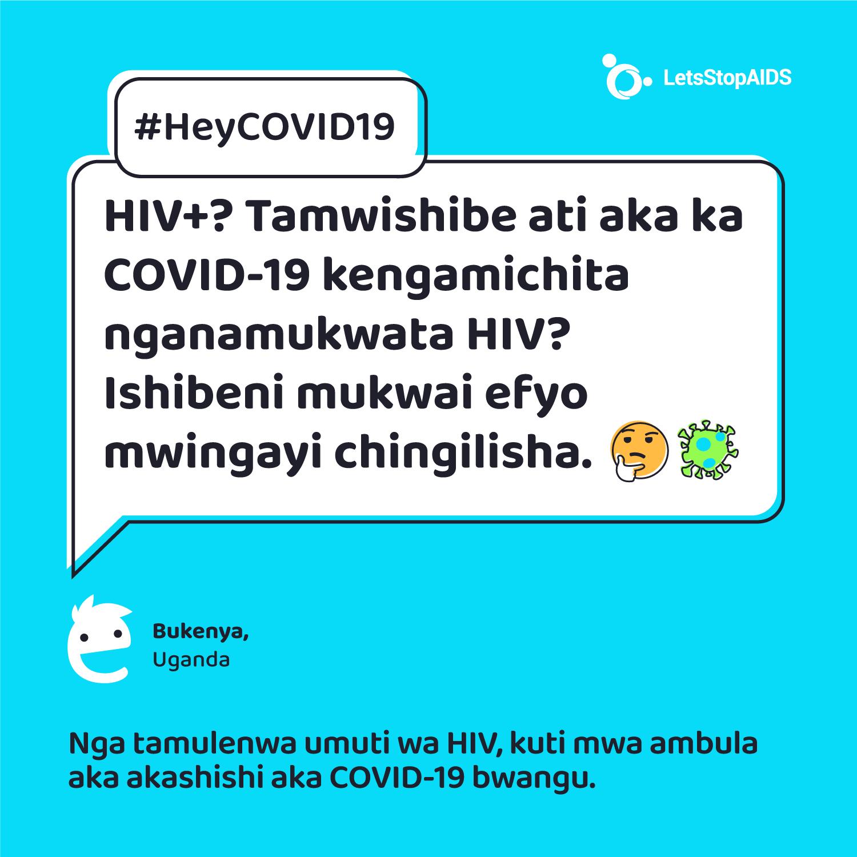 COVID-19 + ulwambo = ichilwani ichiibi. Imiti shamuntu, nemiti shapusana pusana teti shipwishe aka akashishi ka COVID-19.