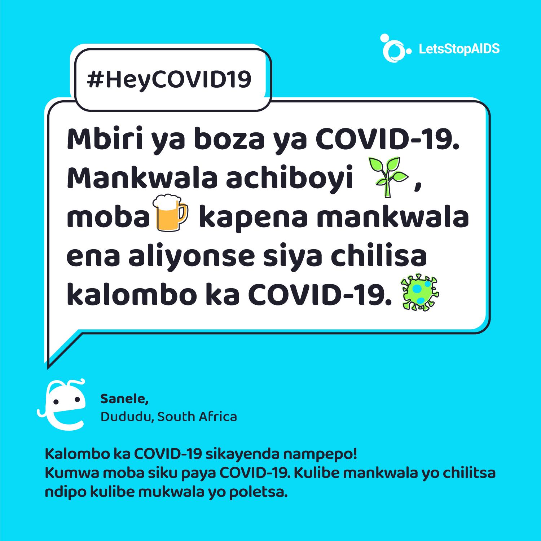Mbiri ya boza ya COVID-19. Mankwala achiboyi, moba kapena mankwala ena aliyonse siya chilisa kalombo ka COVID-19.