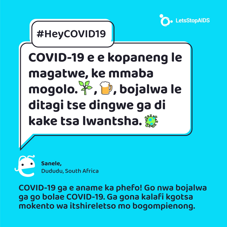 COVID-19 e e kopaneng le magatwe, ke mmaba mogolo. Melemo ya setso, bojalwa le ditagi tse dingwe ga di kake tsa lwantsha COVID-19.