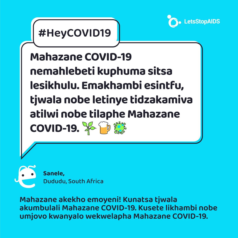 Mahazane COVID-19 nemahlebeti kuphuma sitsa lesikhulu. Emakhambi esintfu, tjwala nobe letinye tidzakamiva atilwi nobe tilaphe Mahazane COVID-19.