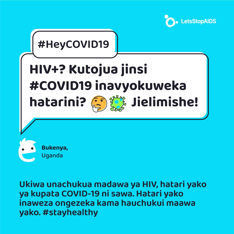 HIV +? Kutojua jinsi # COVID19 inavyokuweka hatarini? 🤔 Jielimishe!