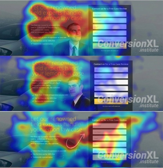 Eye tracking heatmap graphic featuring a mean looking at a signup form.