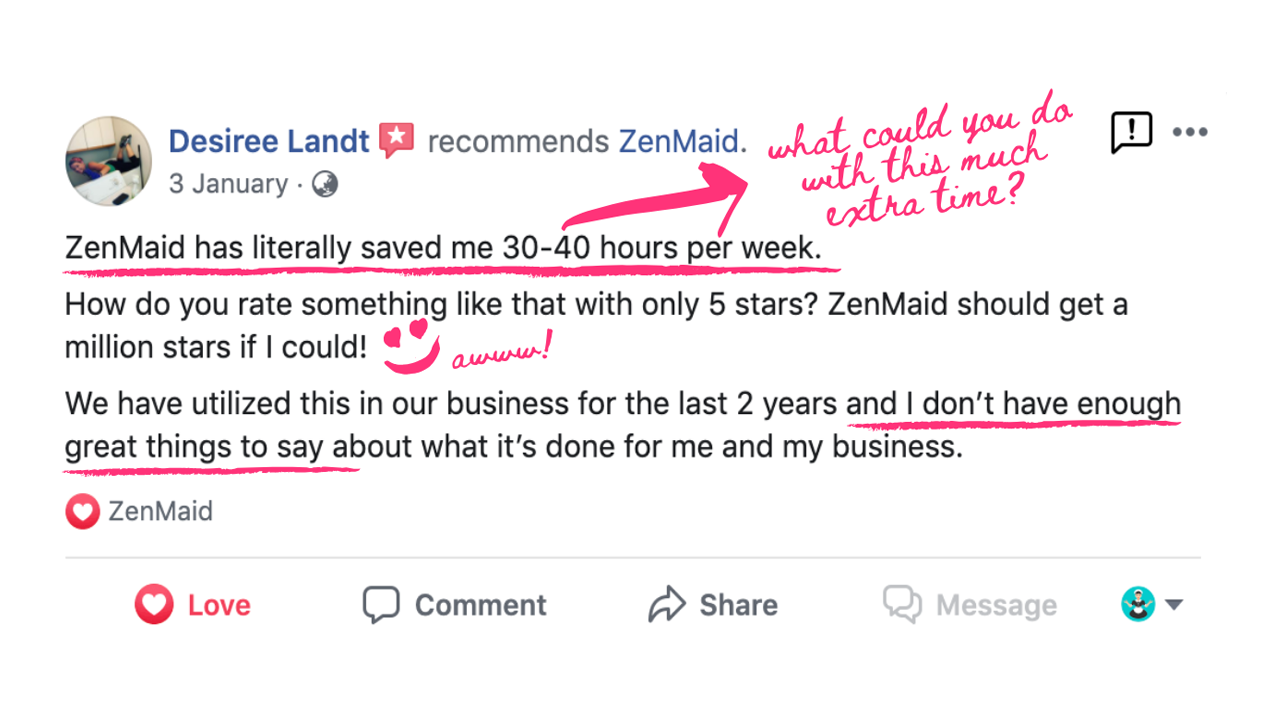 ZenMaid testimonial