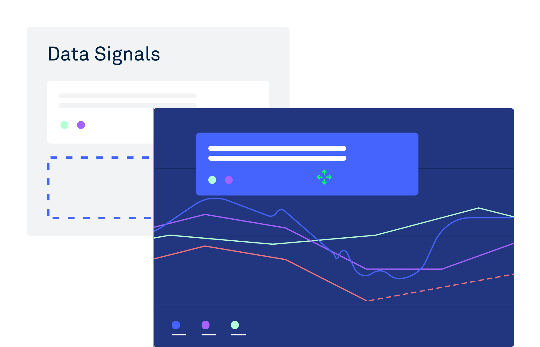 Illustrating how you can easily drag and drop data signals in Clarify