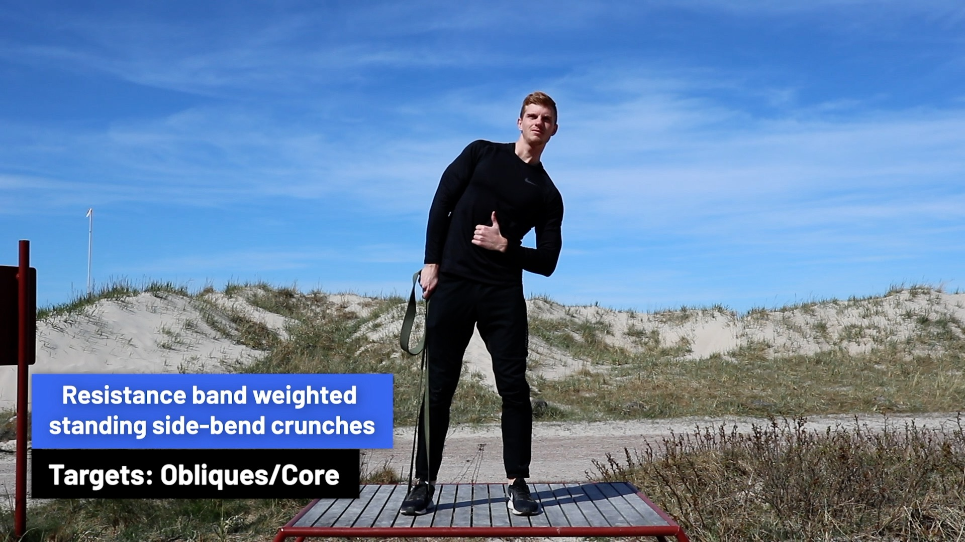 Resistance band weighted standing sinde-bend crunches