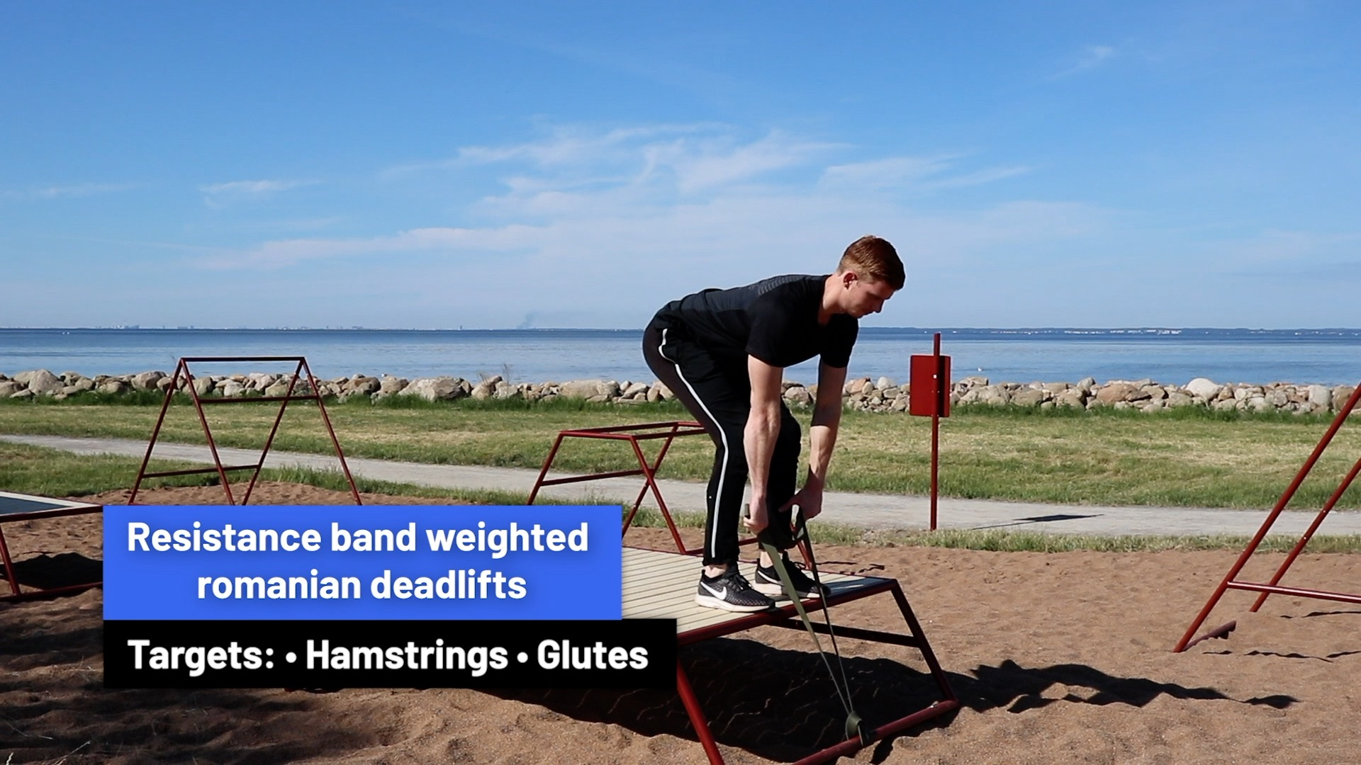 Resistance band weighted romanian deadlifts