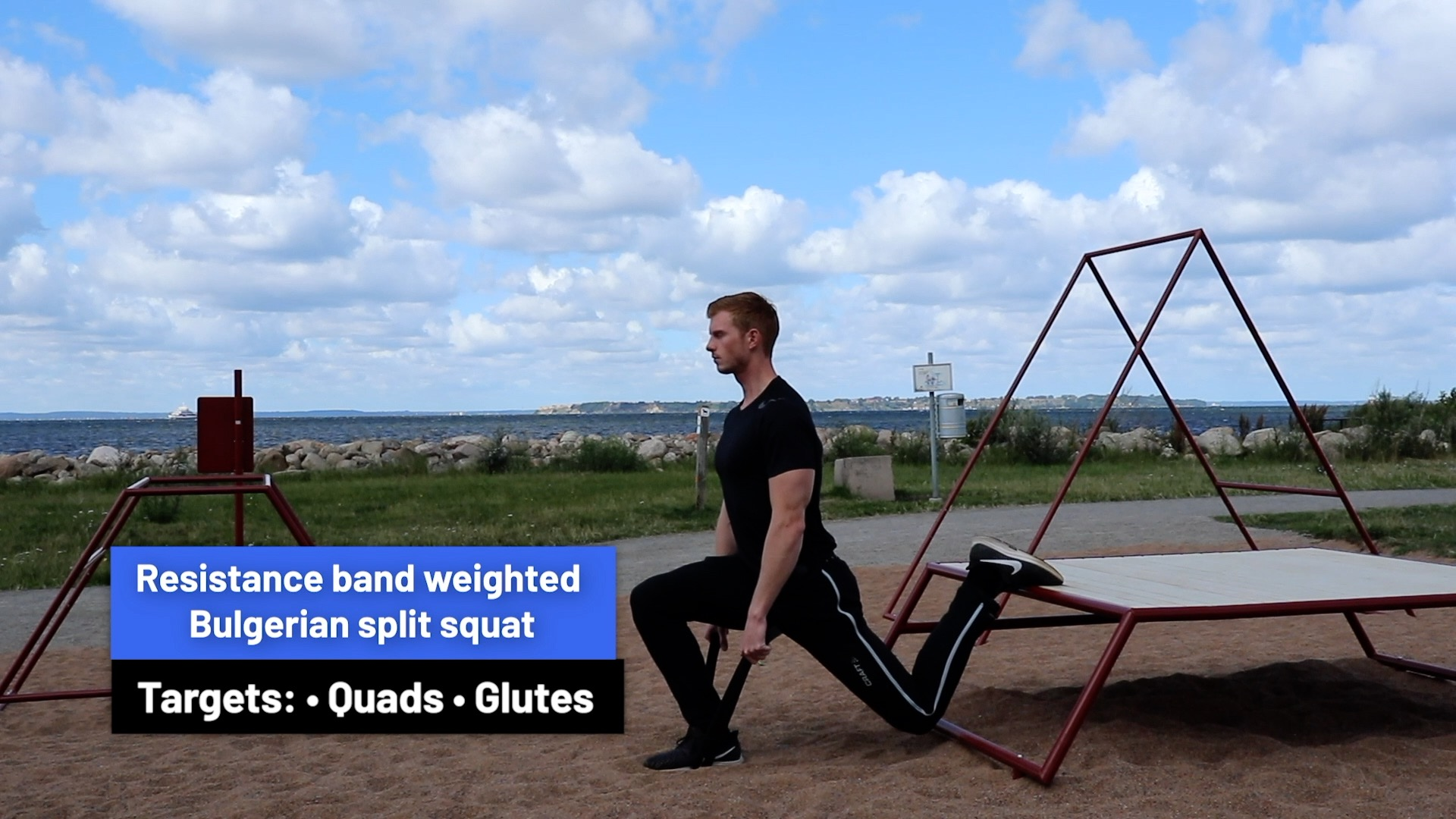 Resistance band weighted Bulgarian split squat