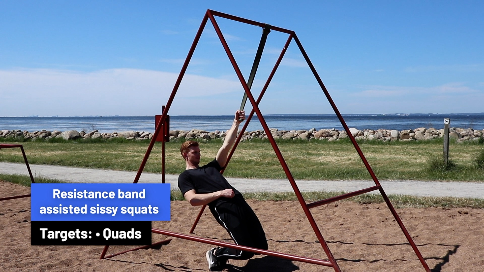 Resistance band assisted sissy squats