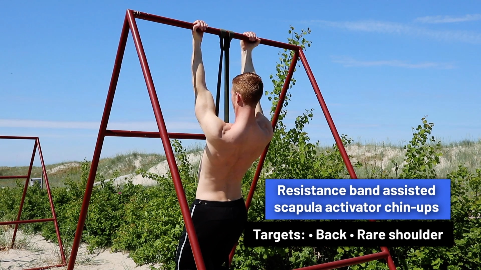 Resistance band assisted scapula activator chin-ups