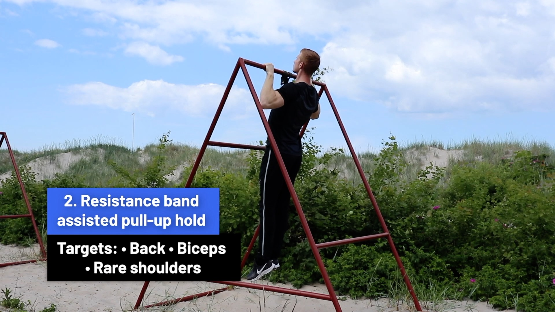 Resistance band assisted pull-up hold