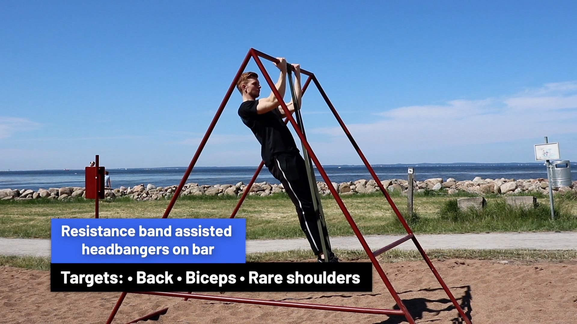 Resistance band assisted headbangers on bar