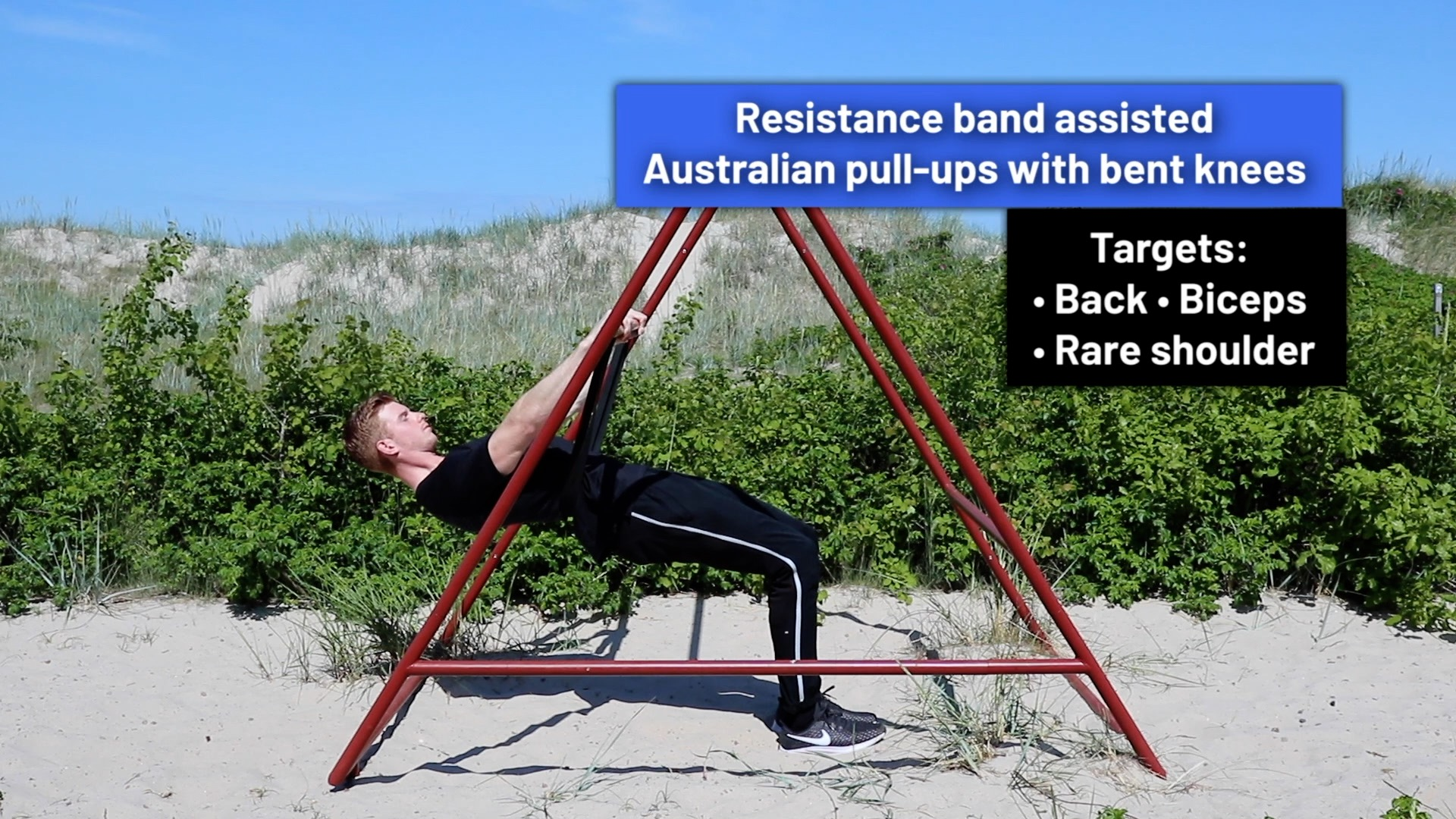 Resistance band assisted Australian pull-ups with bent knees