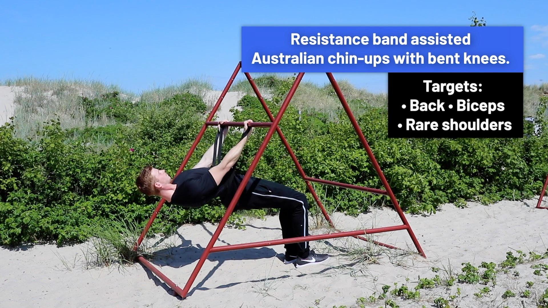 Resistance band assisted Australian chin-ups with bent knees