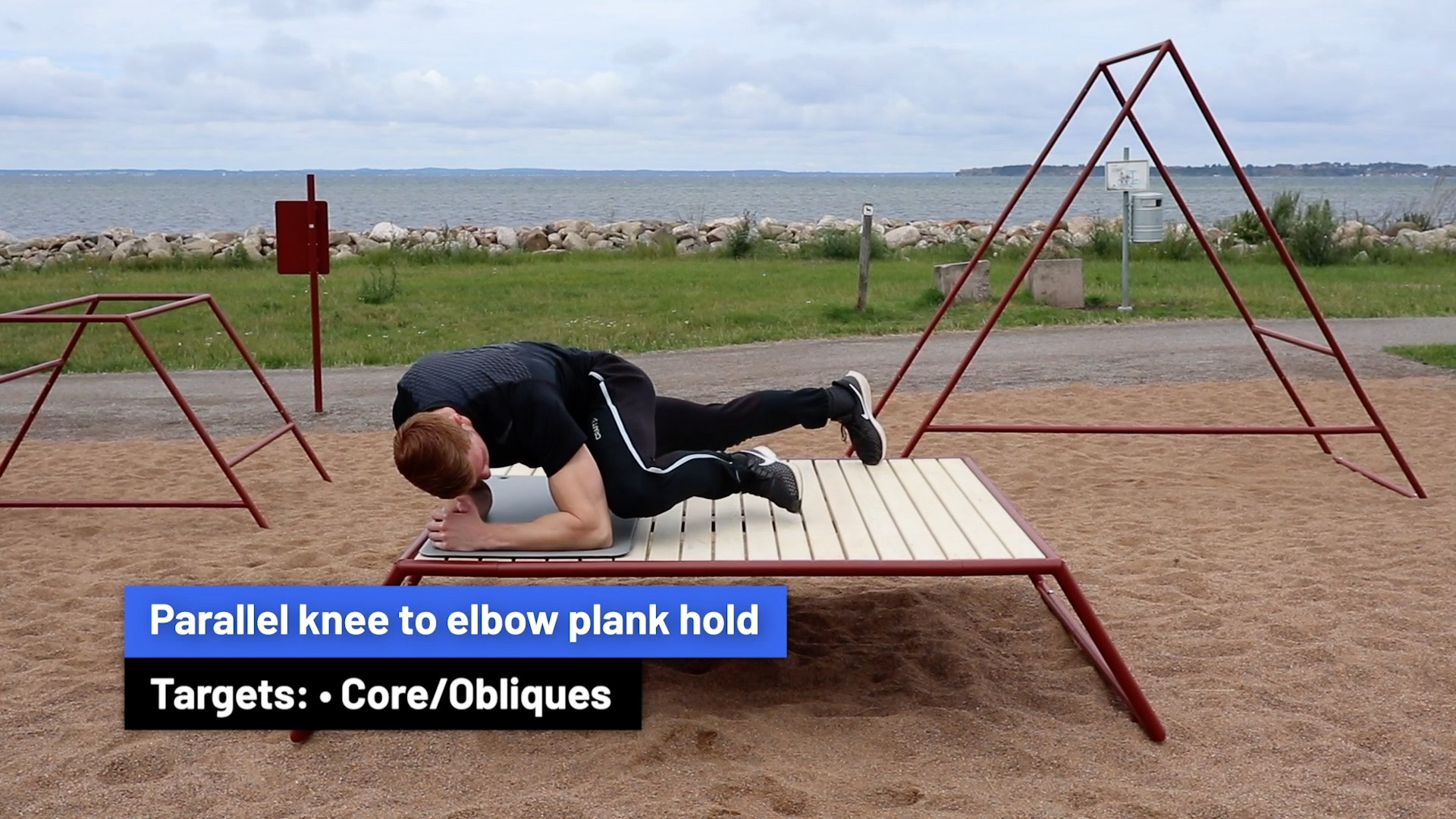 Parallel knee to elbow plank hold