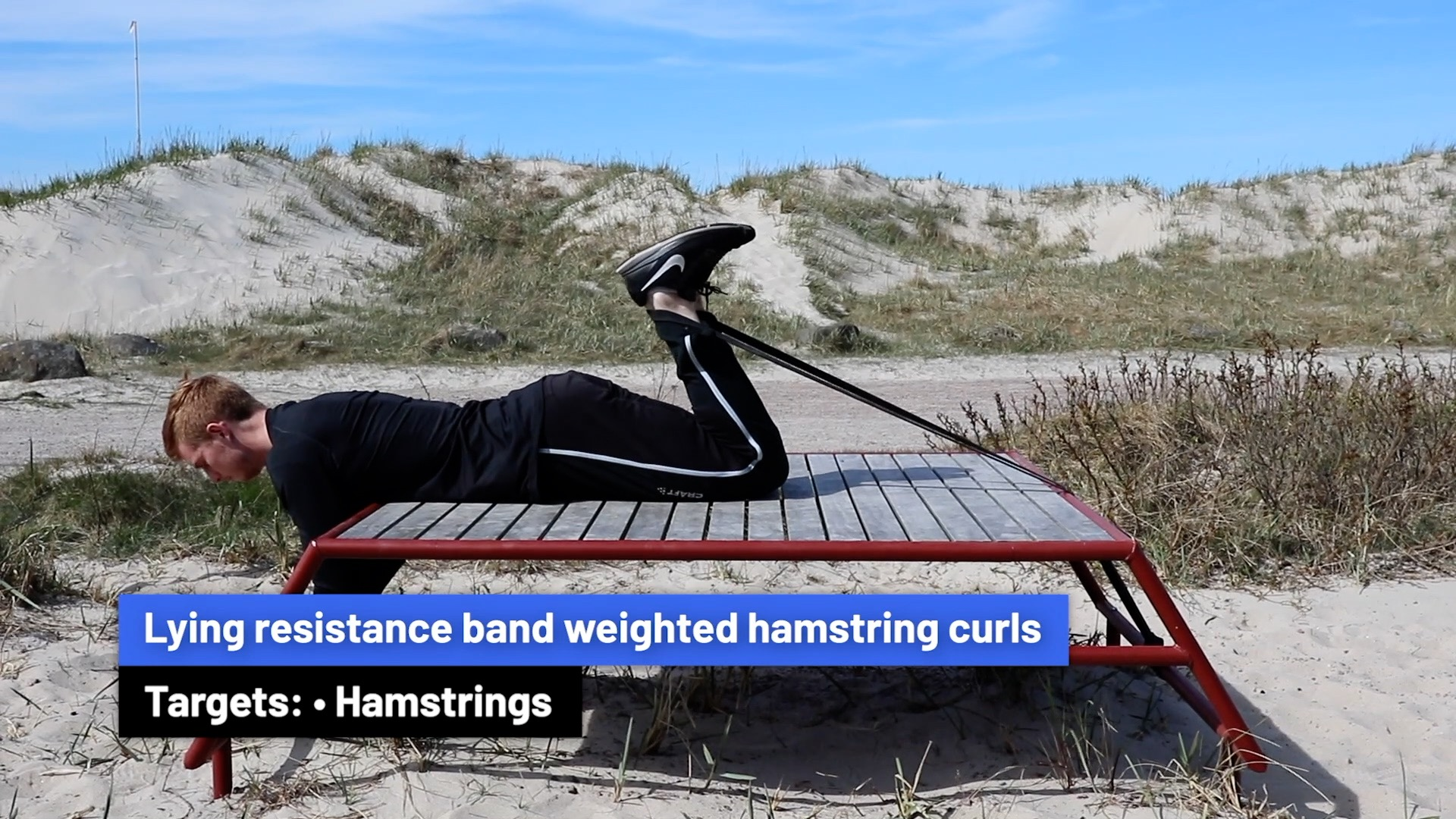Lying resistance band weighted hamstring curls
