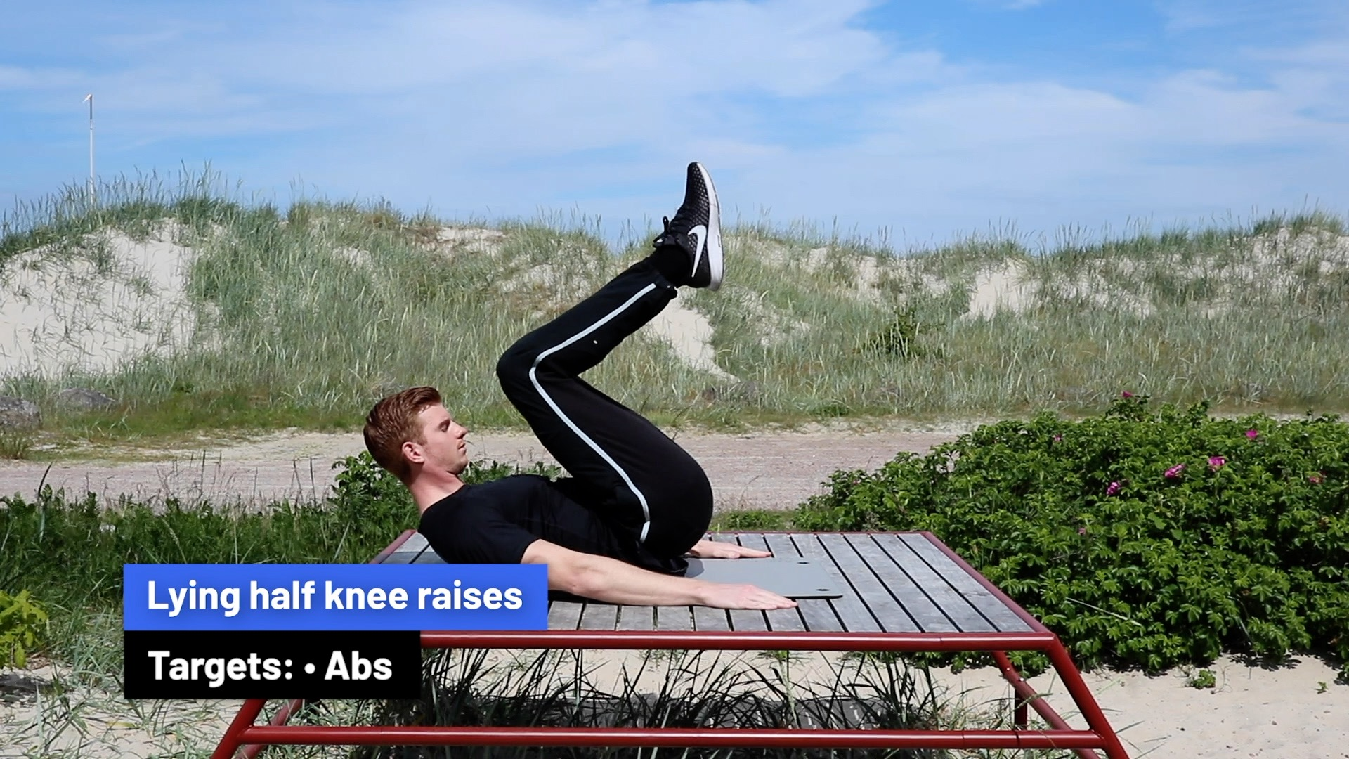 Lying half knee raises