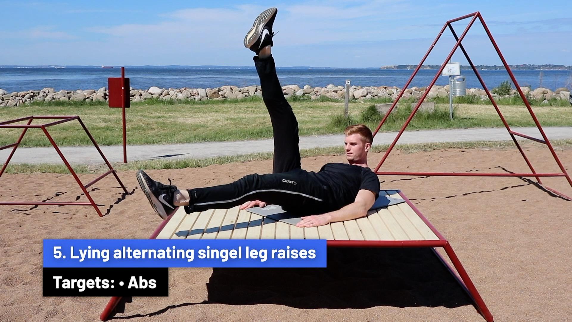 Lying alternating single leg raises
