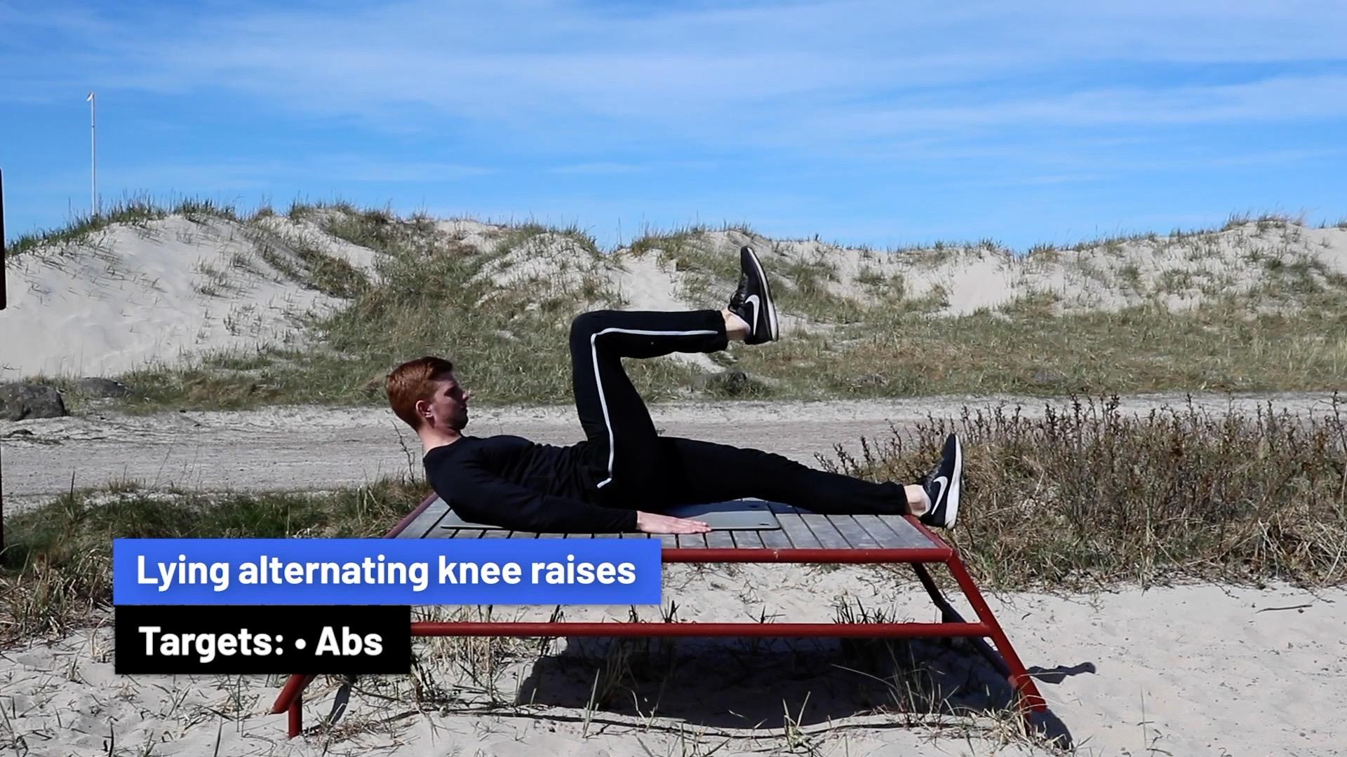 Lying alternating knee raises