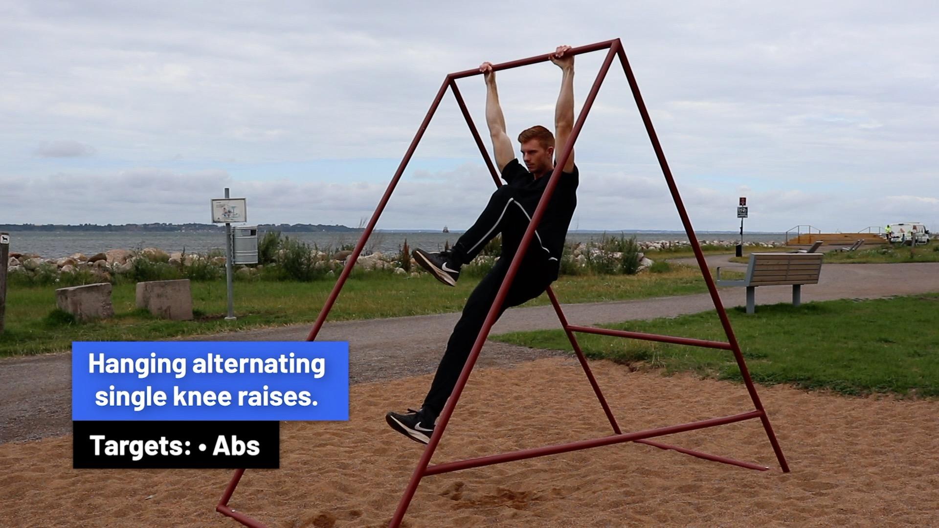 Hanging alternating single knee raises