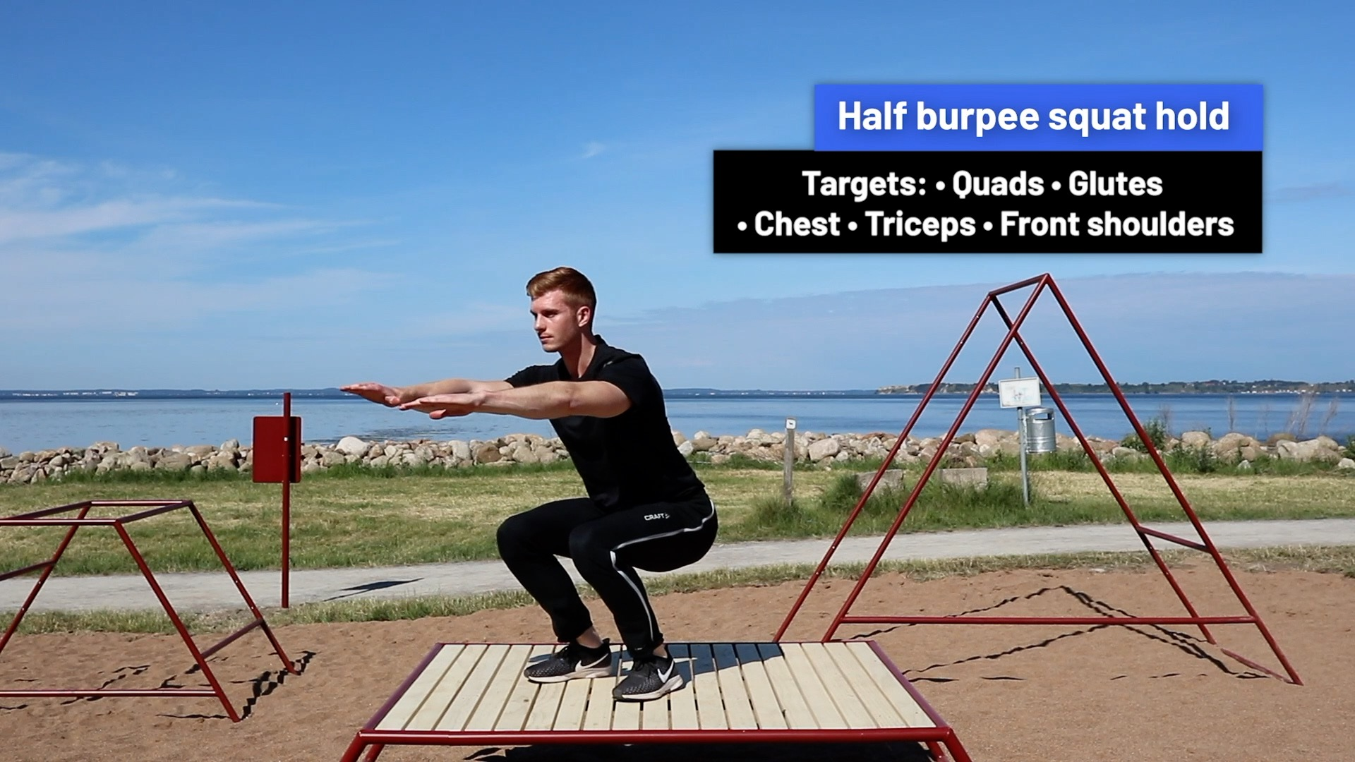 Half burpee squat hold