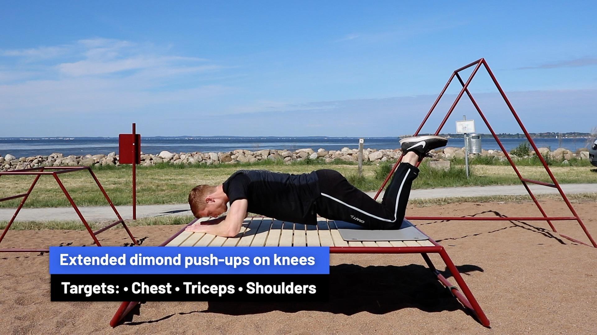 Extended diamond push-ups on knees