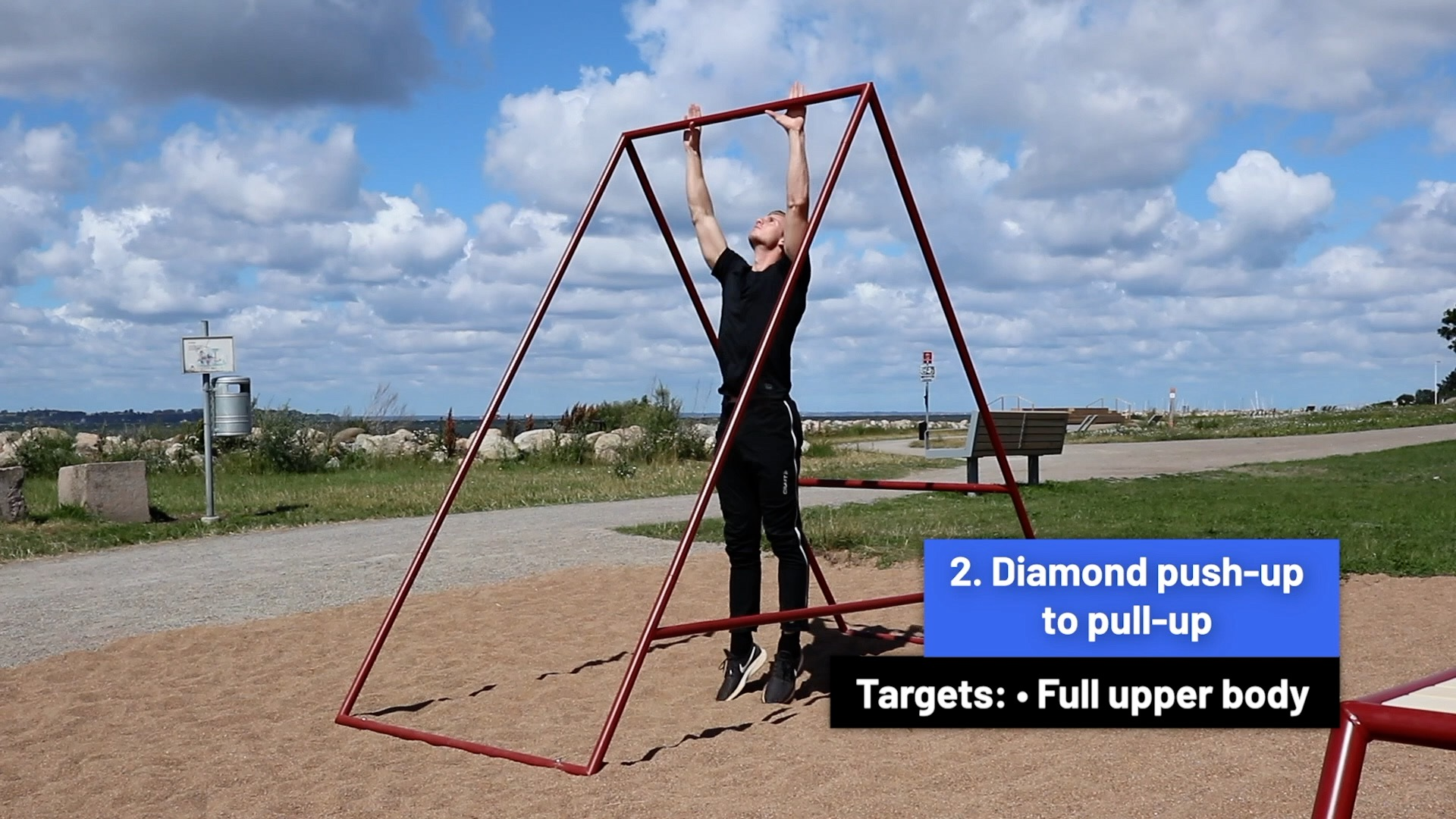 Diamond push-up to pull-up