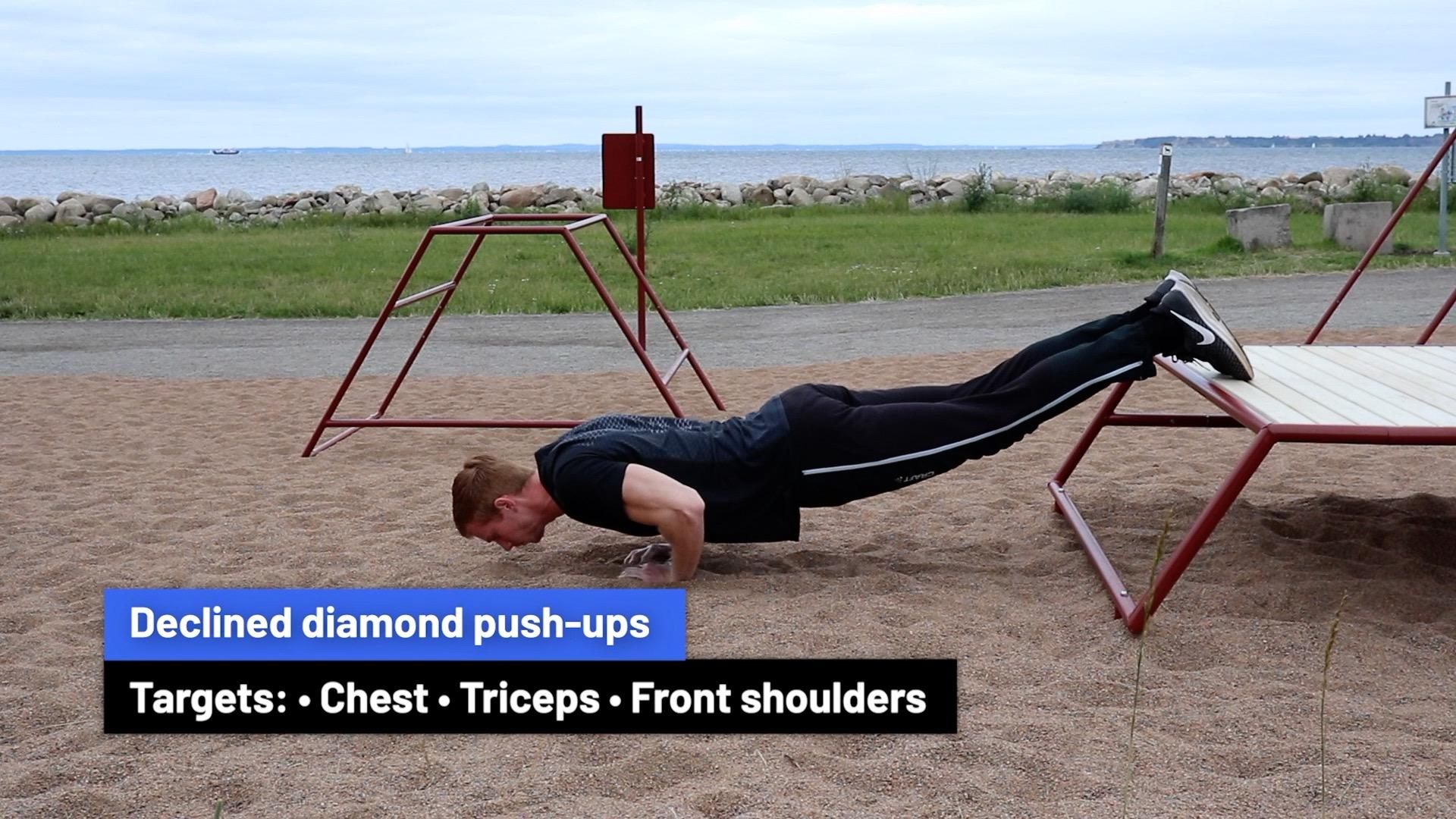 Declined diamond push-ups