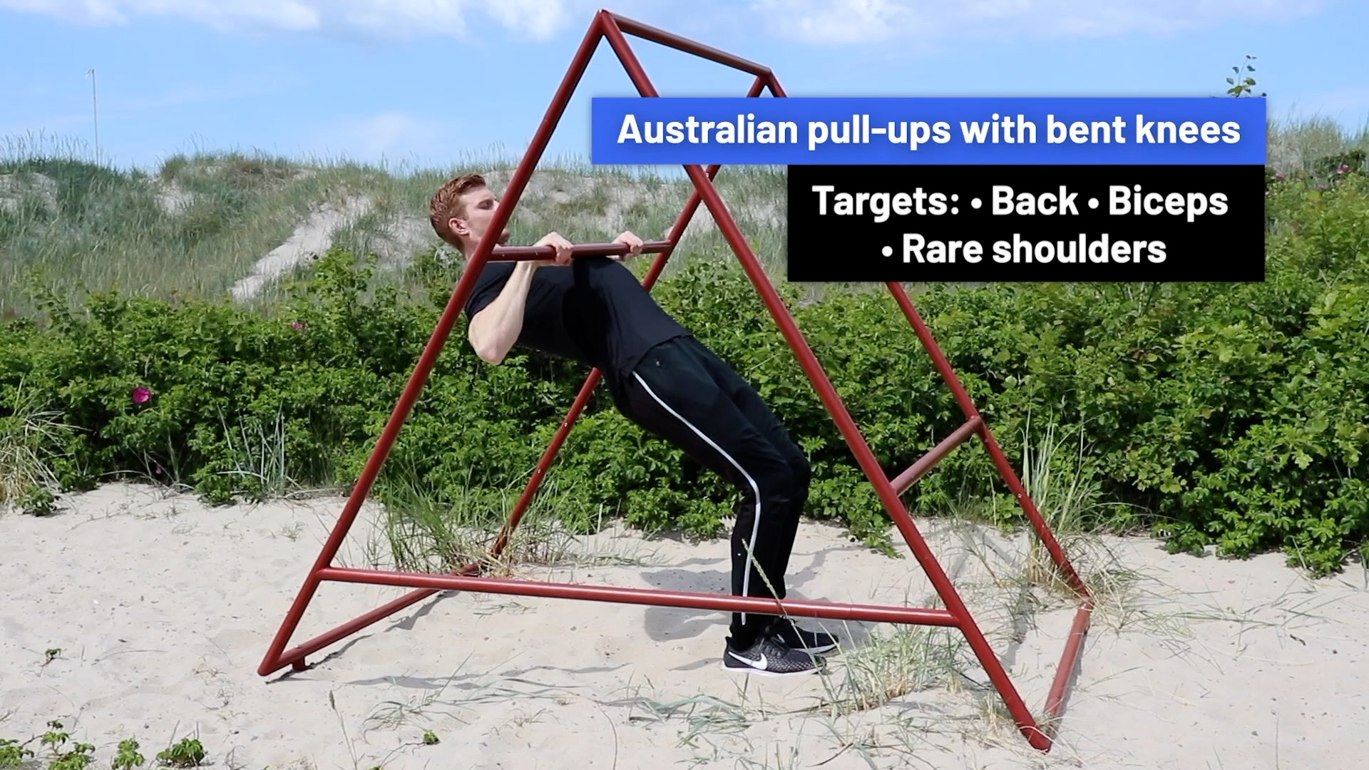 Australian pull-ups with bent knees