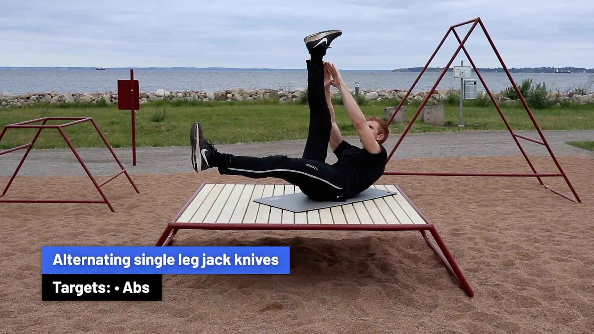 Alternating single leg jack knives