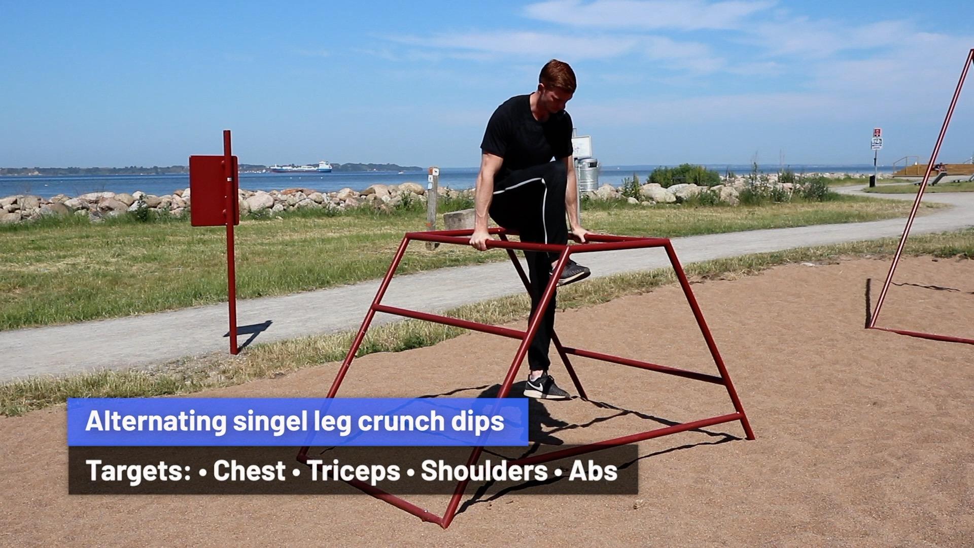 Alternating single leg crunch dips