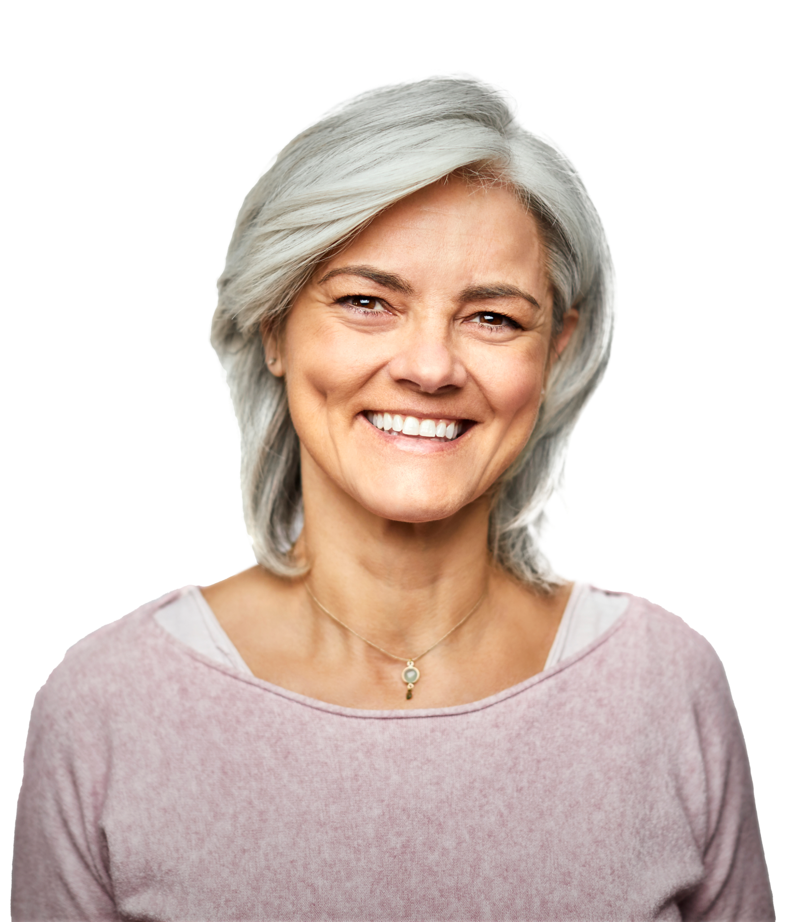 middle-aged woman smiles confidently