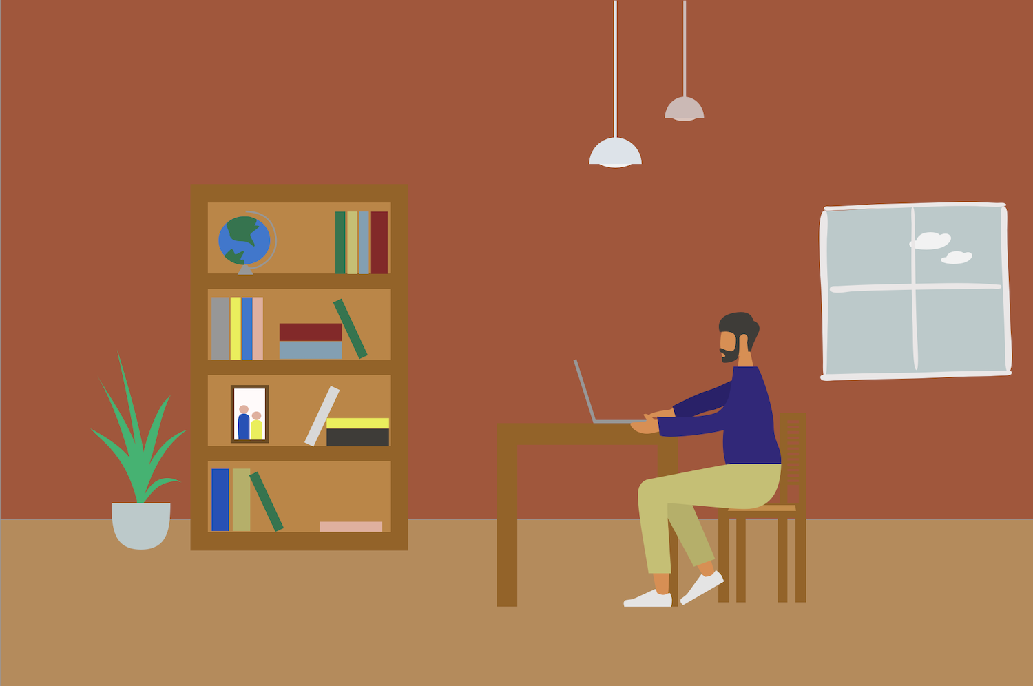 Graphic of man sitting at table working on laptop