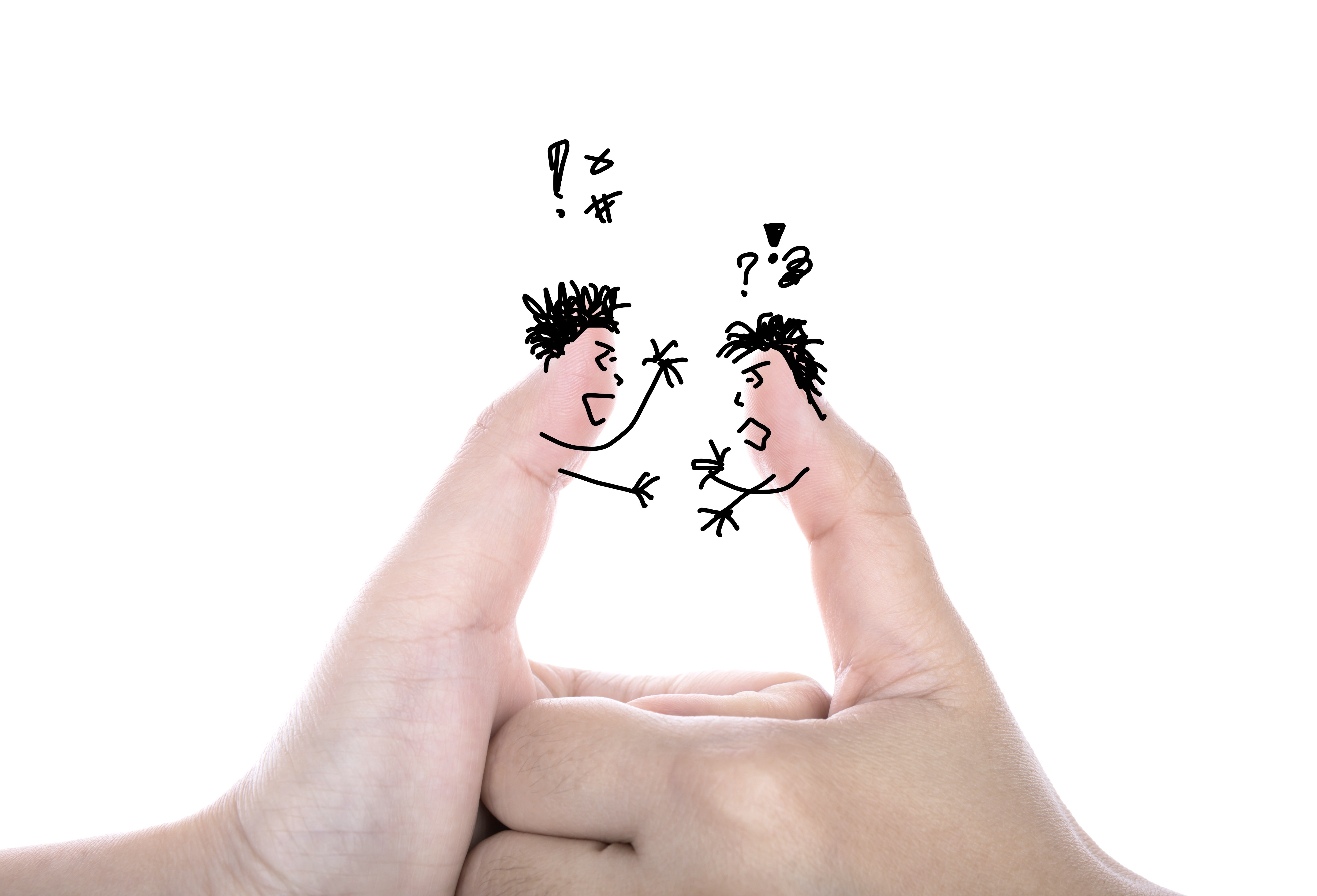 Graphic illustration of two thumbs arguing with one another during a thumb war style handshake