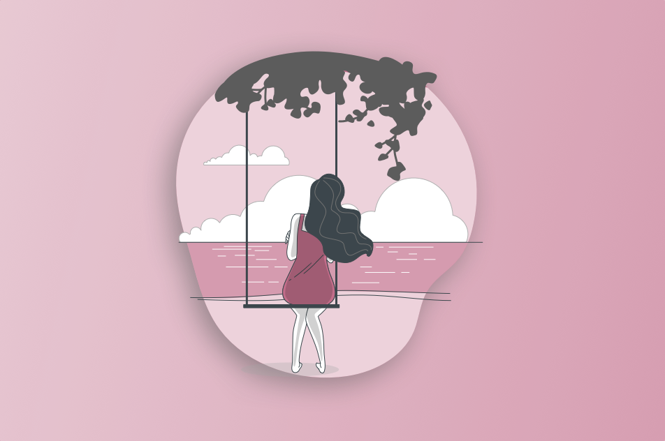 Graphic illustration of woman sitting alone on swing looking into ocean and horizon