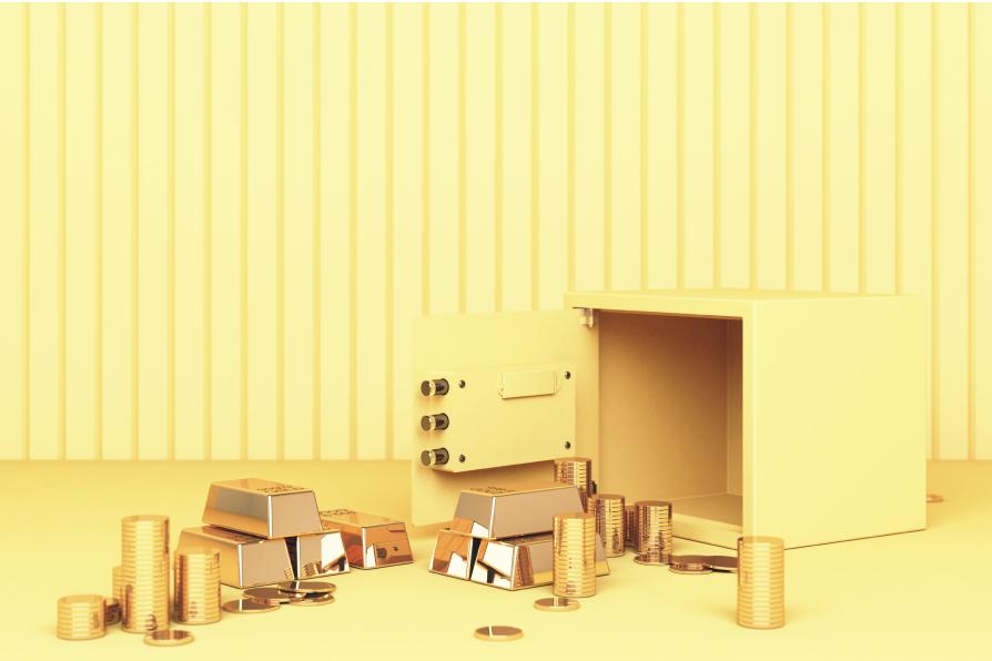 yellow monochromatic 3d illustration of gold coins & bullion in safe deposit box