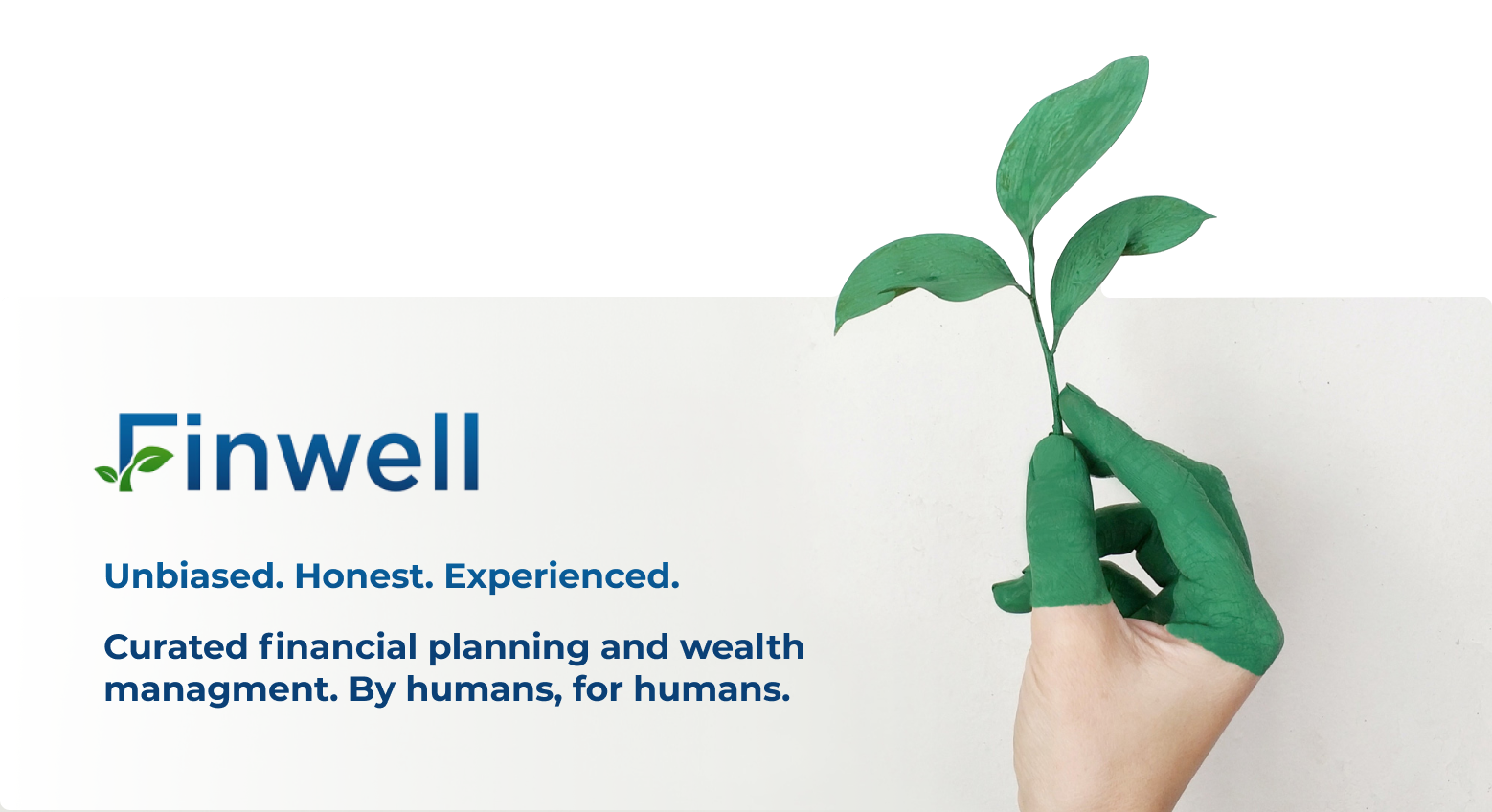Finwell Benefits ad with green hand holding growing plant