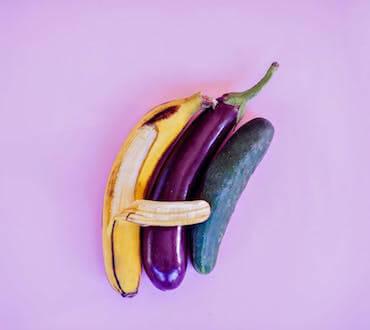 Banana, eggplant and cucumber