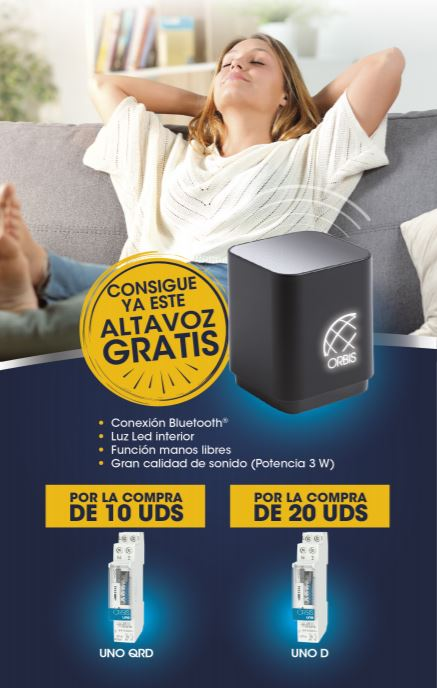 Flyer promoción altavoz gratis Orbis