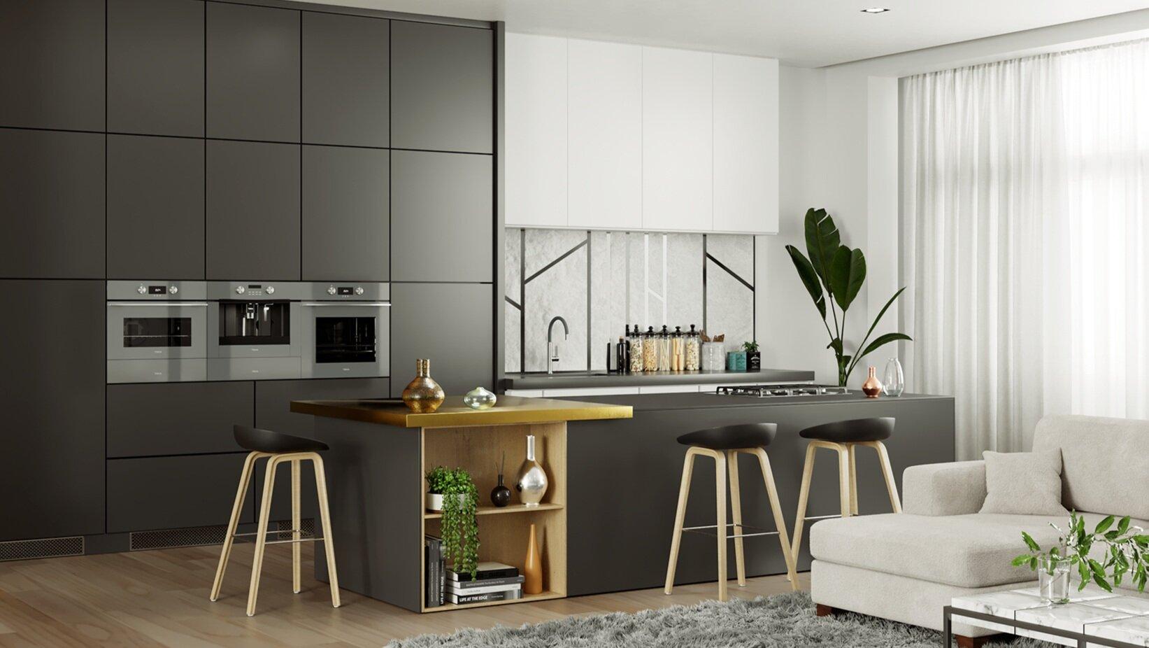 Cocina equipada con la colección Stone Grey de Teka (Edición Urban Colors Edition)