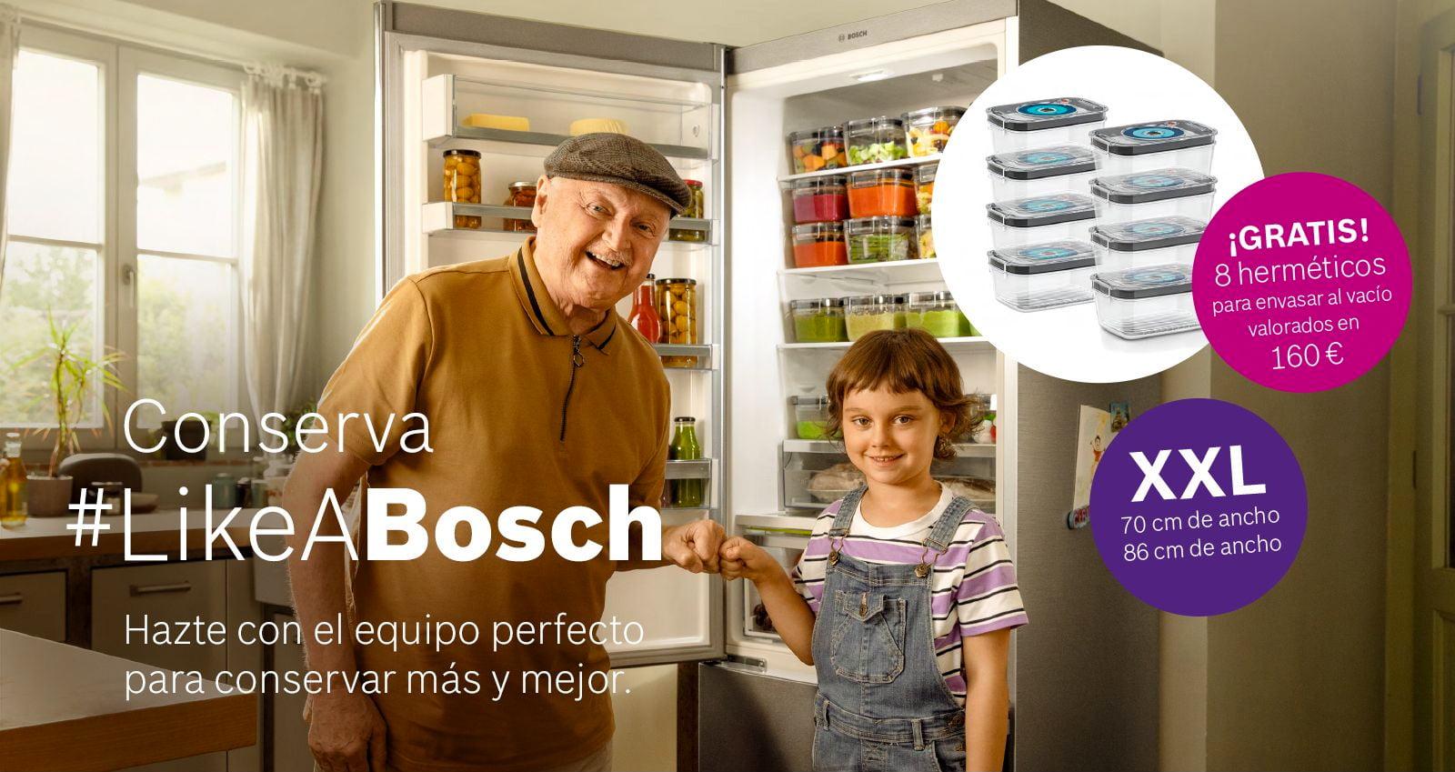 Conserva Like a Bosch, promoción 8 envases herméticos gratis con Bosch