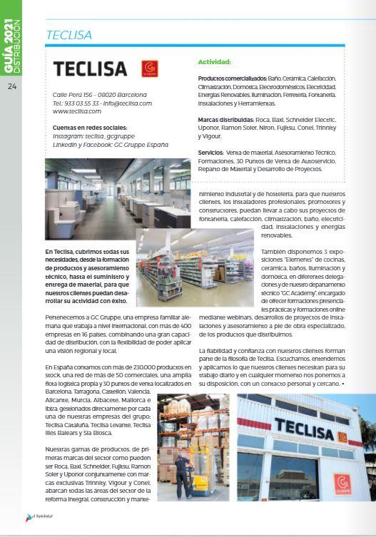 Revista Guía del Instalador 2021, Presencia de Teclisa