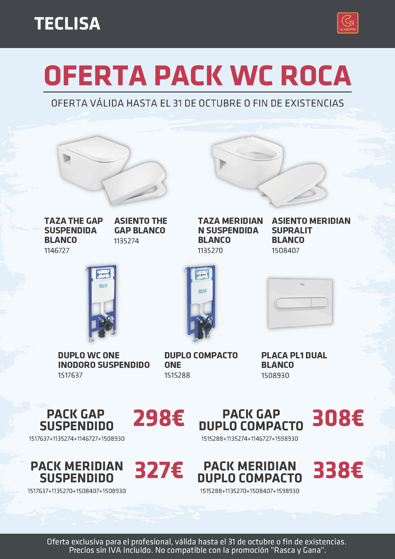 Oferta limitada Pack WC Roca Octubre 2021