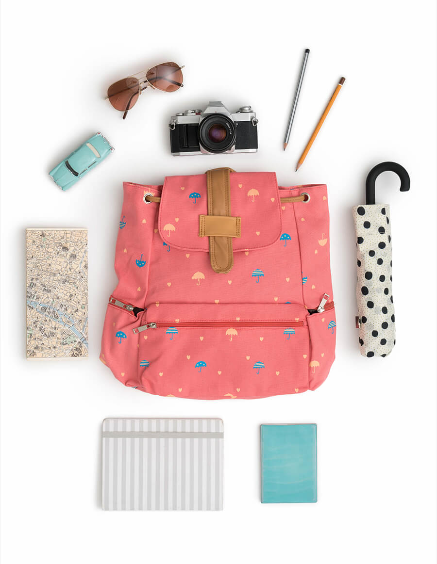 Back to school backpack layout.