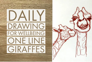 Daily drawing for wellbeing one line giraffes