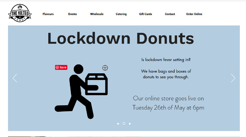 Lockdown donuts webpage from The Kilted Donut