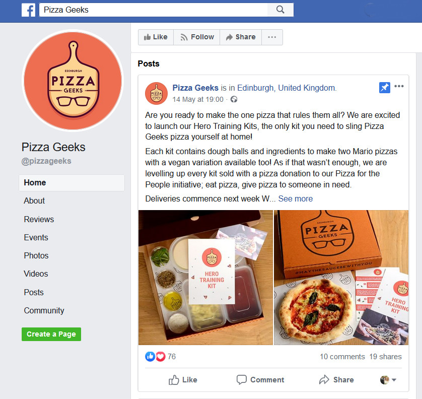 PIzza Geeks Facebook page